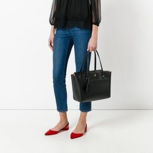 Tory Burch Small Parker Black Leather Tote